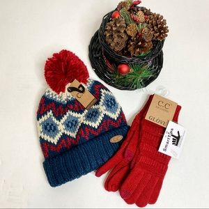 C.C. Knit Beanie Hat & Matching SmartTips Gloves